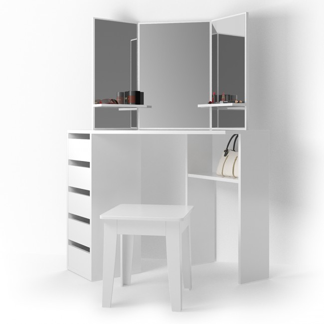buy popular 54aa2 bb85a H4home Modern Corner Dressing Table 5 Drawers Large Vanity Mirror White