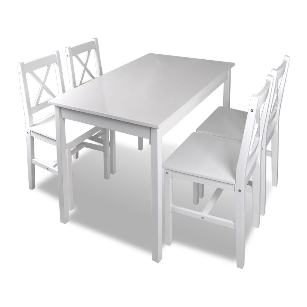 H4home White Modern Dining Table Set With 4 Chairs Solid