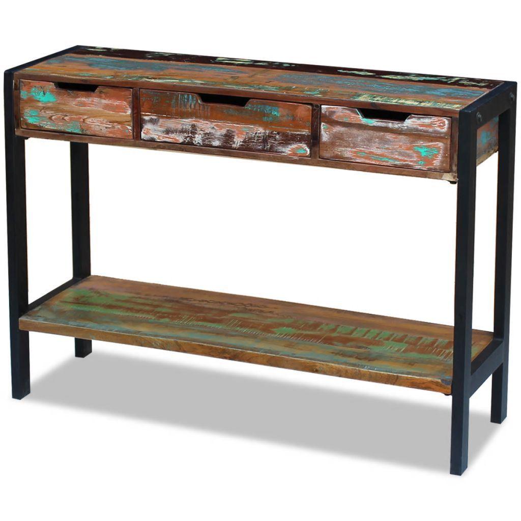 Vintage Industrial Sideboard 3 Drawers Solid Reclaimed Wood Handmade