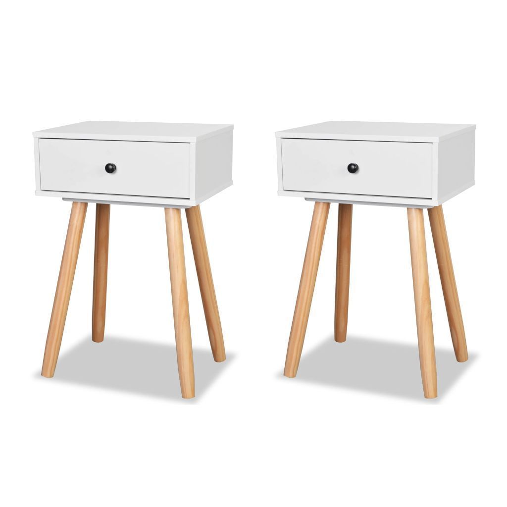 H4home Mid Century Modern Bedside Tables 2 Pcs Scandinavian Design White H4home Furnitures