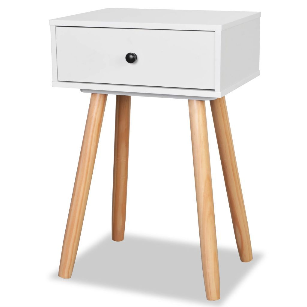 newest 812b3 b95e6 H4home Mid Century Modern Bedside Tables 2 pcs Scandinavian Design White |  H4Home Furnitures