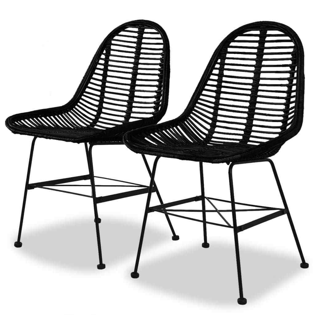 H4home Set of 2 Rattan Dining Chairs Iron Legs Black ...