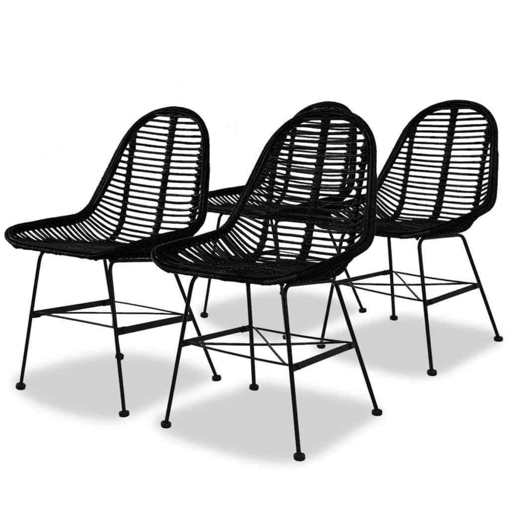 H4home Set of 4 Rattan Dining Chairs Iron Legs Black ...