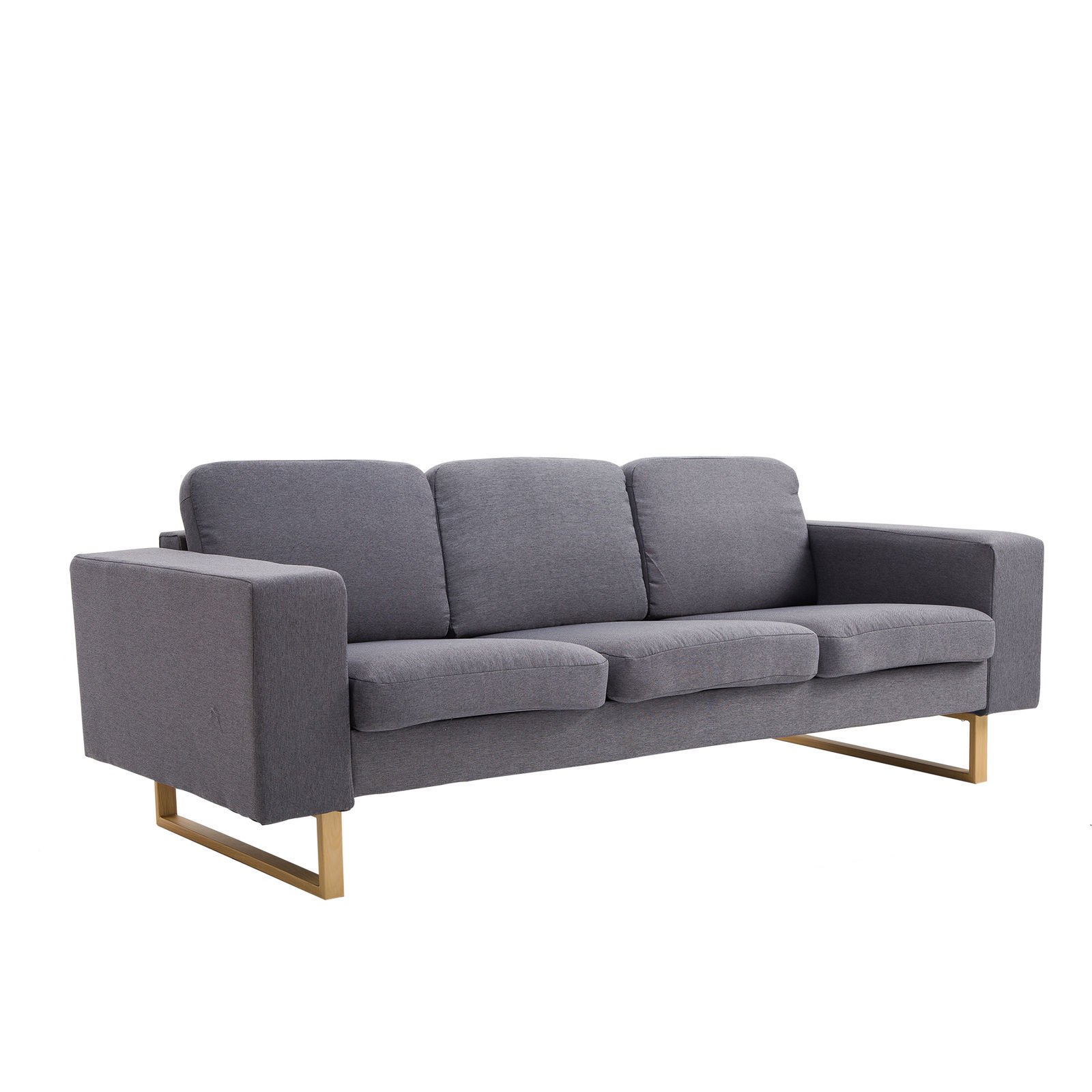 Mid century modern sofa 3 seater loveseat padded linen dark grey roll