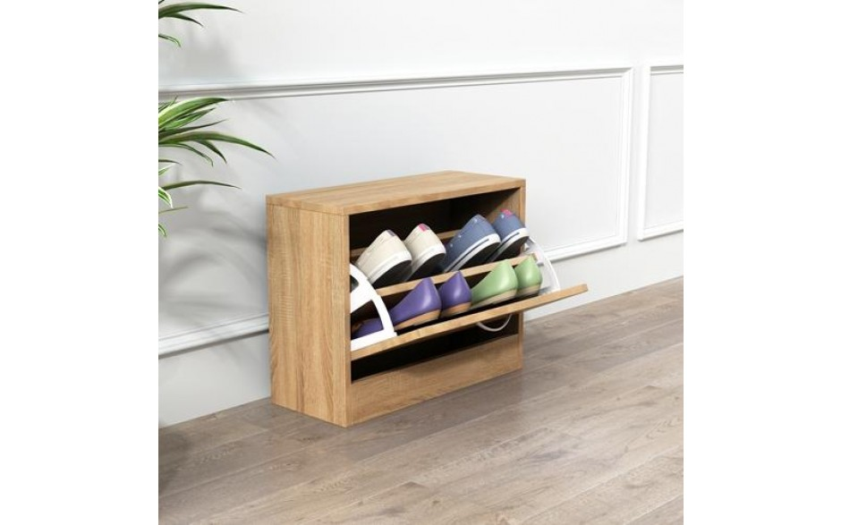 H4home Small Shoe Storage Cabinet Footwear Wooden Stand