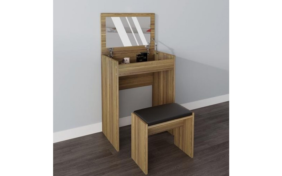 Admirable H4Home Small Dressing Table Set With Mirror And Stool Walnut Gmtry Best Dining Table And Chair Ideas Images Gmtryco