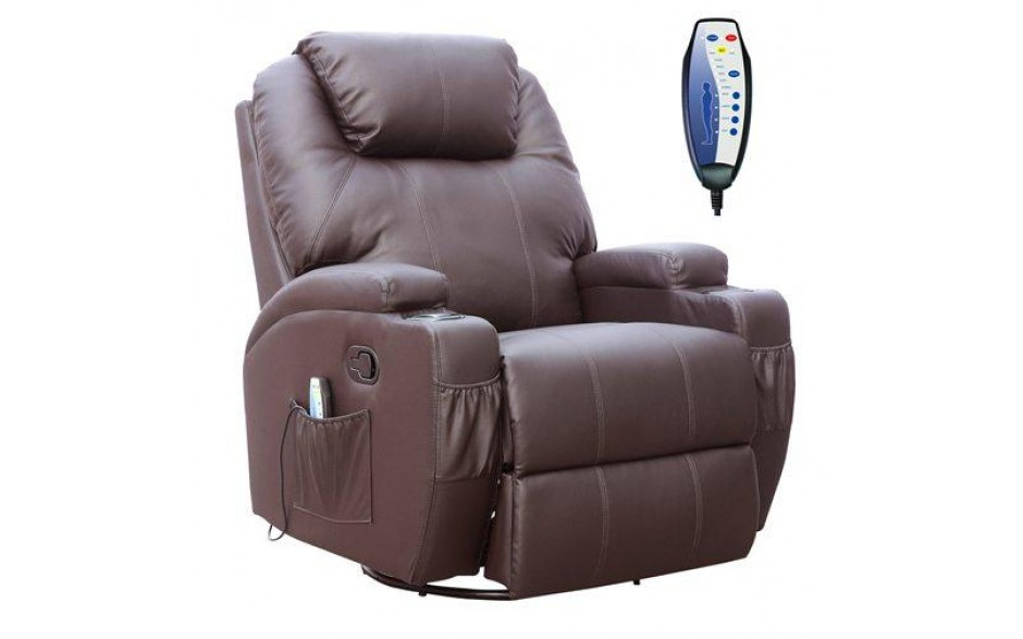 H4home Massage Electric Sofa Chair Heated Recliner Leather