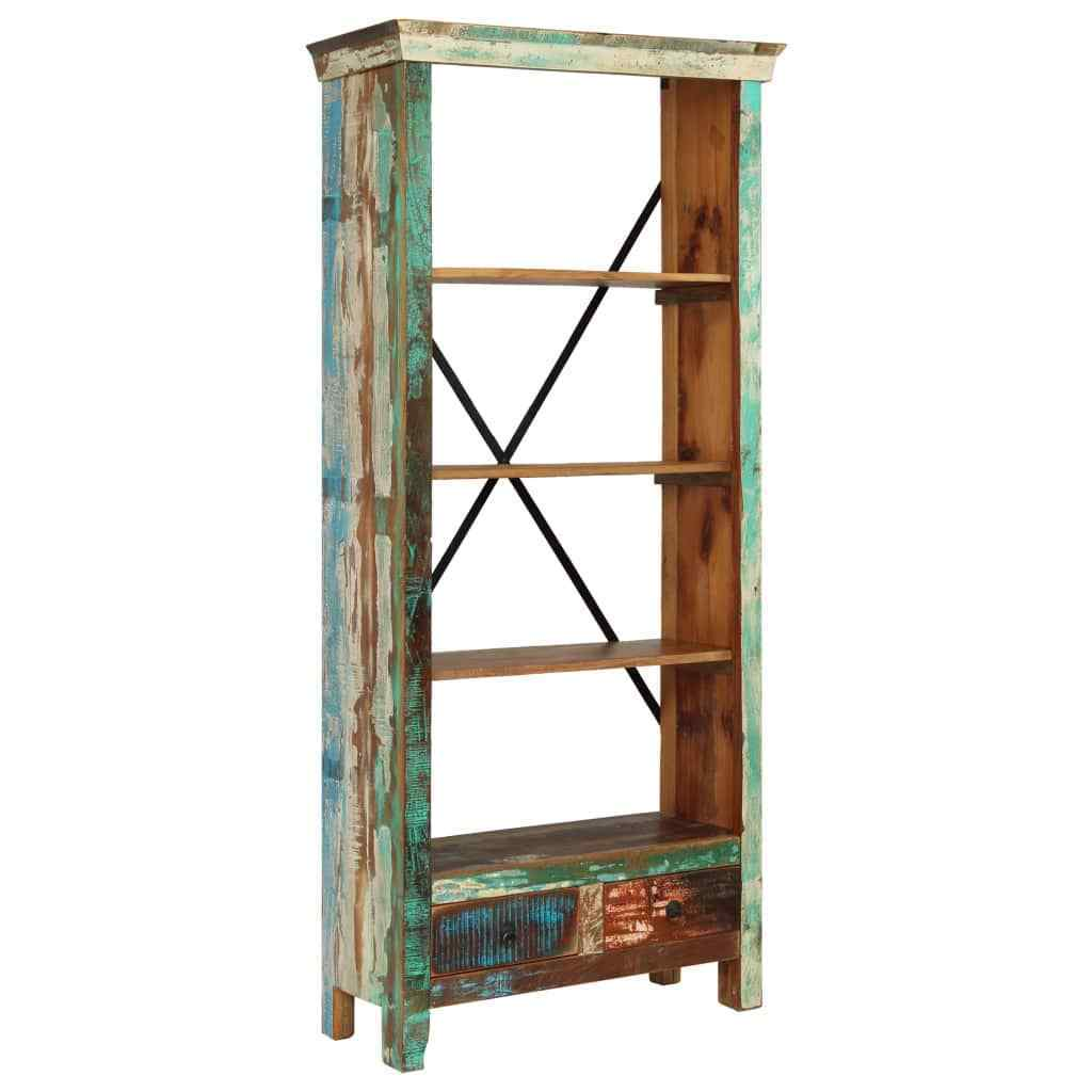 H4home Vintage Tall Bookcase Solid Reclaimed Wood Handmade