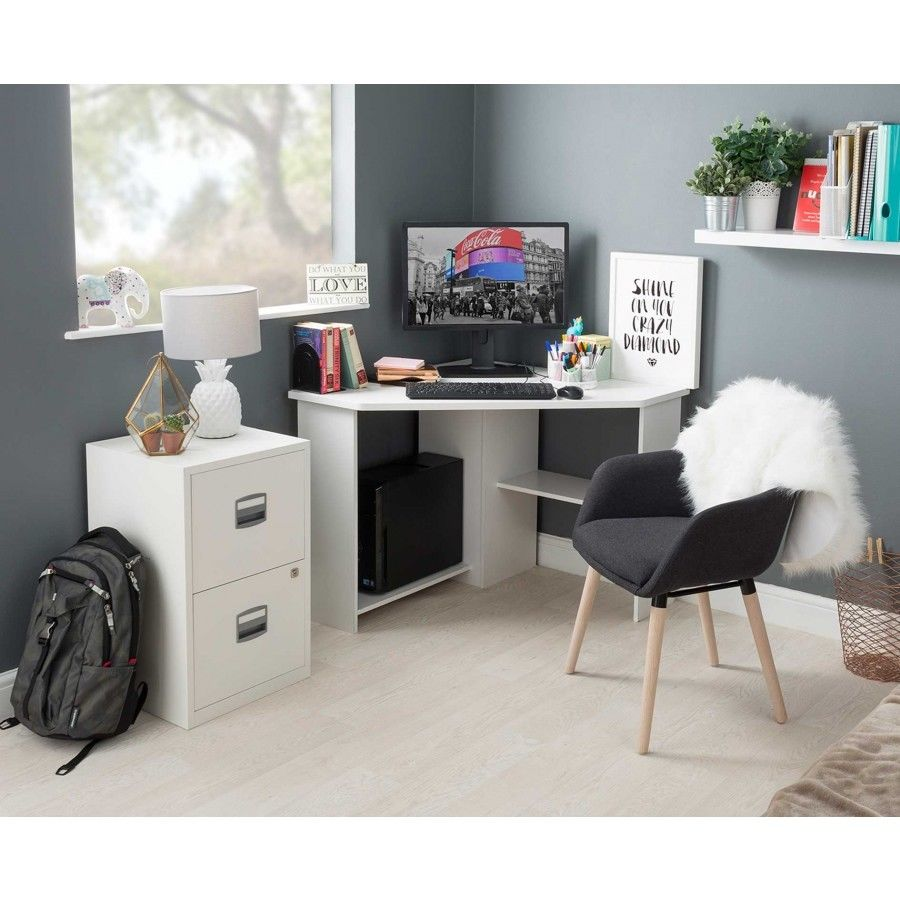 H4home Small Corner Computer Desk White