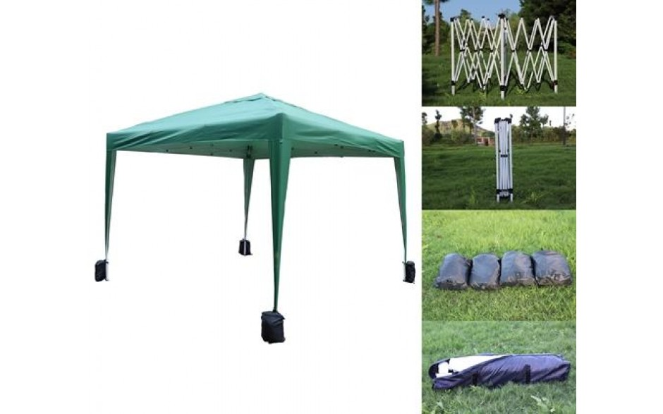 H4home Garden Gazebo No Side 3x3 Pop Up Marquee Canopy Tent Waterproof BBQ Green