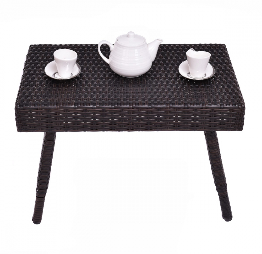 - H4home Garden Rattan Small Folding Coffee Table Side Outdoor