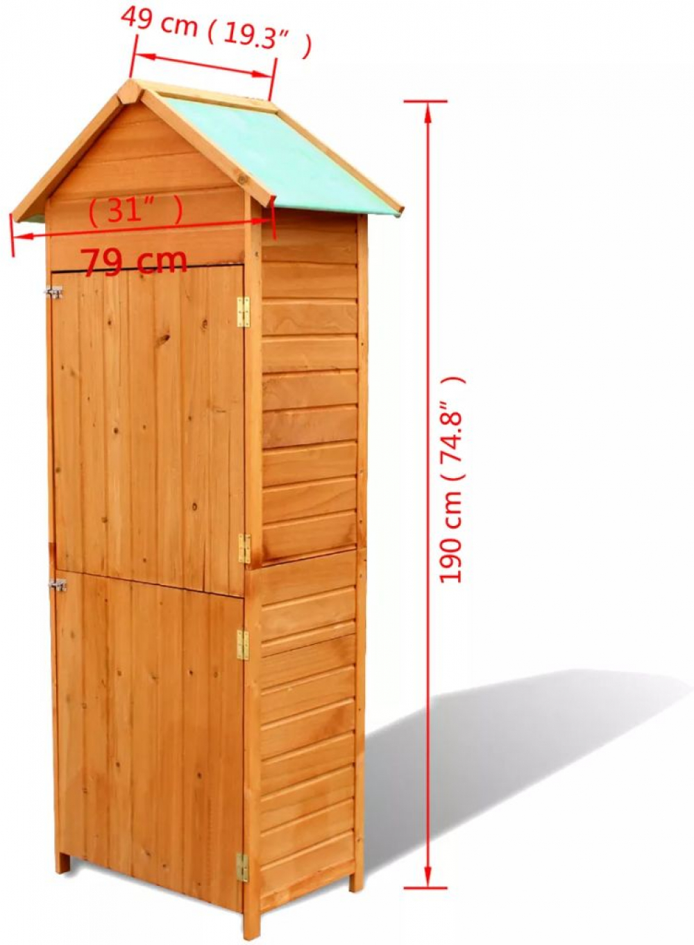 H4home Garden Tall Wooden Cabinet Shed Storage Box