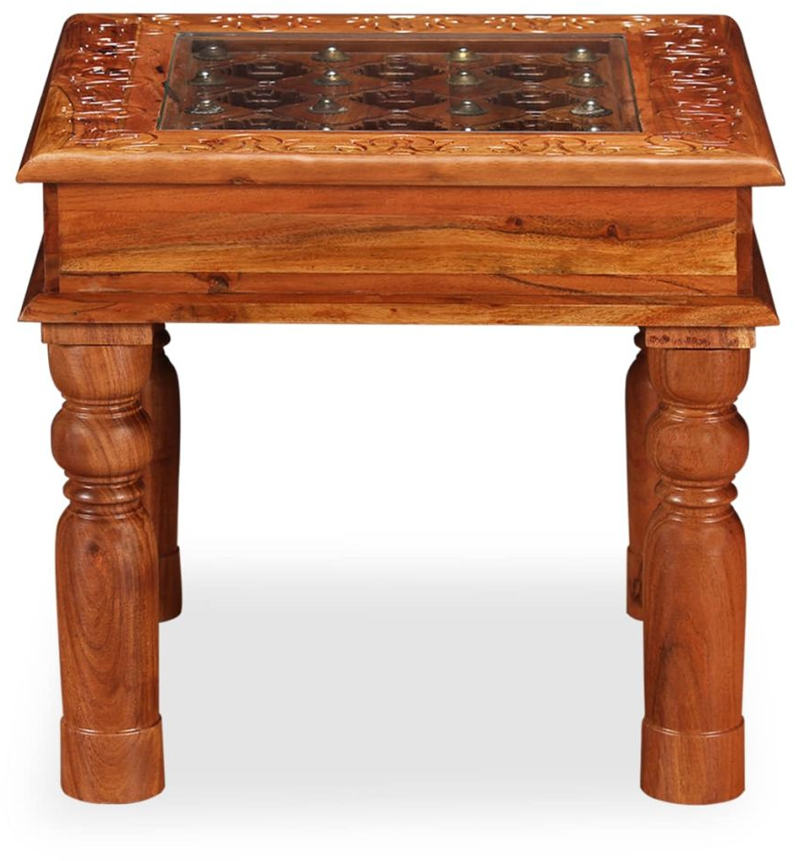 H4home Indian Small Coffee Table Solid Acacia Wood Vintage