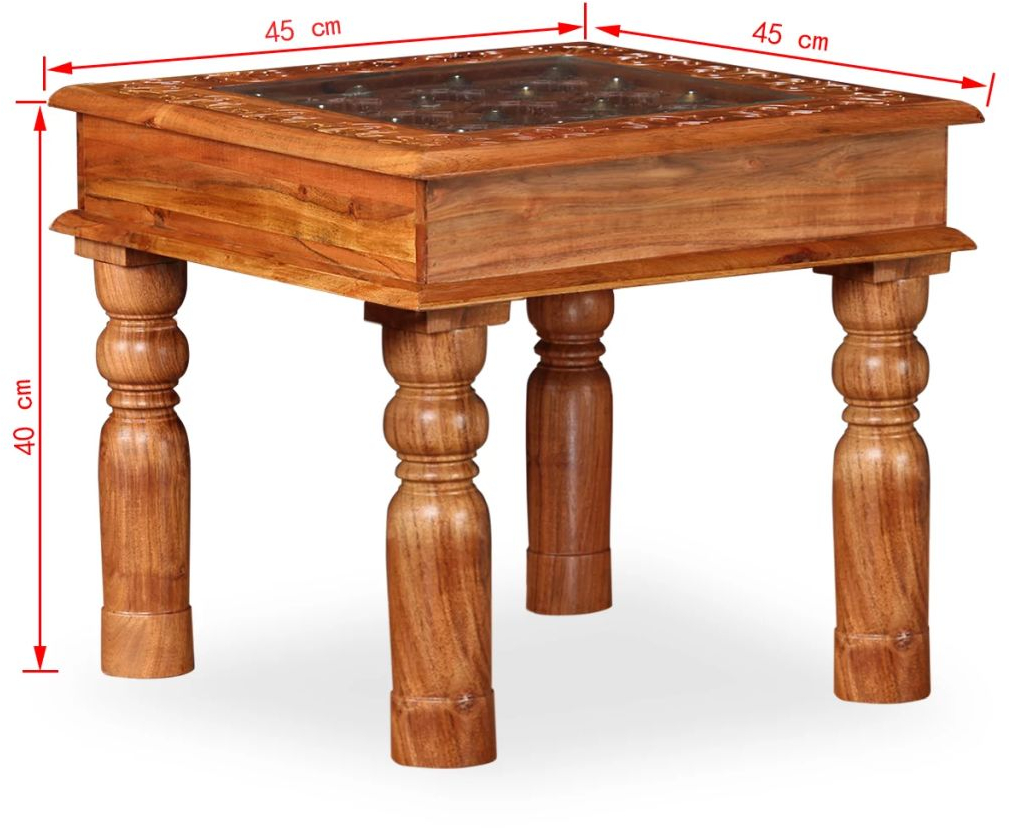 H4home Indian Small Coffee Table Solid Acacia Wood Vintage Side