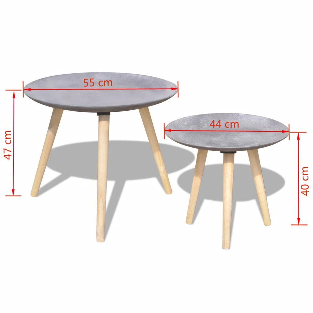 H4home Set Of 2 Scandinavian Coffee Tables Mid Century Side End Concrete Grey H4home Furnitures