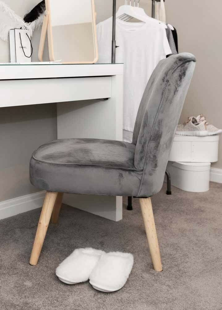 Luxury Grey Velvet Accent Chair Occasional Lounge Bedroom Fabric Tub Wooden Legs H4home Furnitures