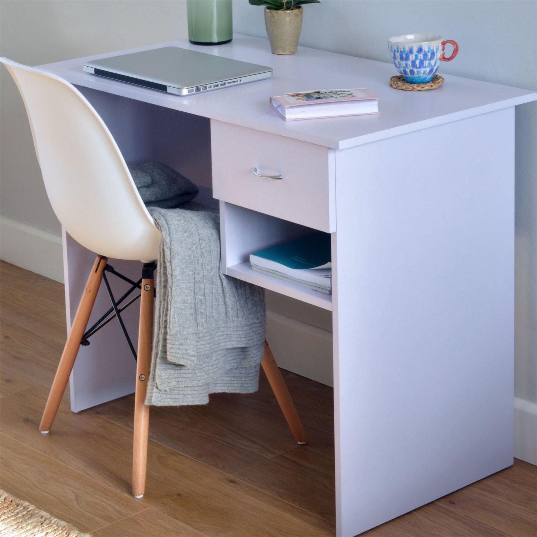 Modern Small Wooden Computer Desk Kids Study Workstation White H4home Furnitures