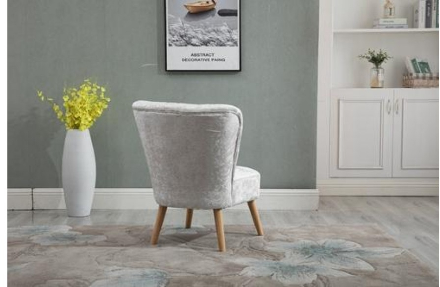 Scandinavian Retro Accent Chair Crush Velvet Wooden Legs Cream | H4Home  Furnitures