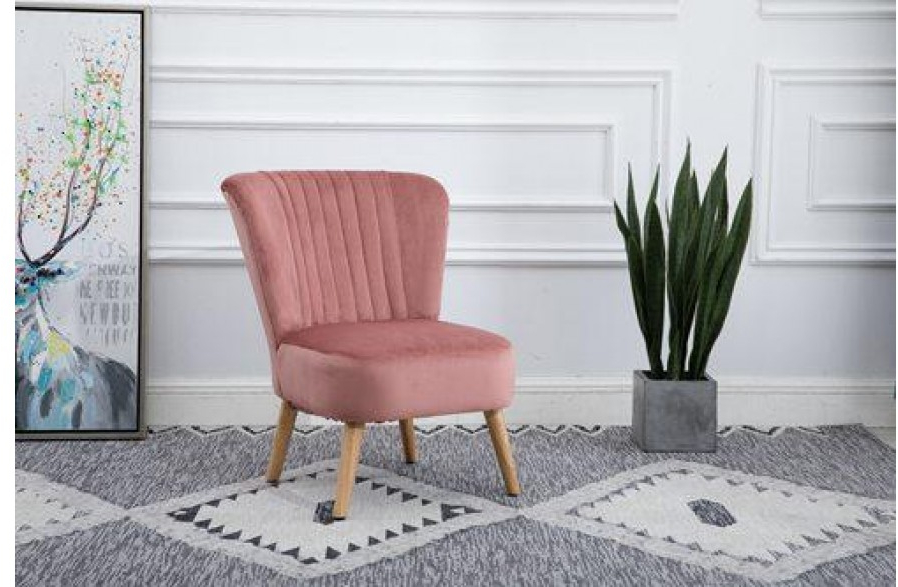 Scandinavian Retro Accent Chair Crush Velvet Wooden Legs Pink | H4Home  Furnitures