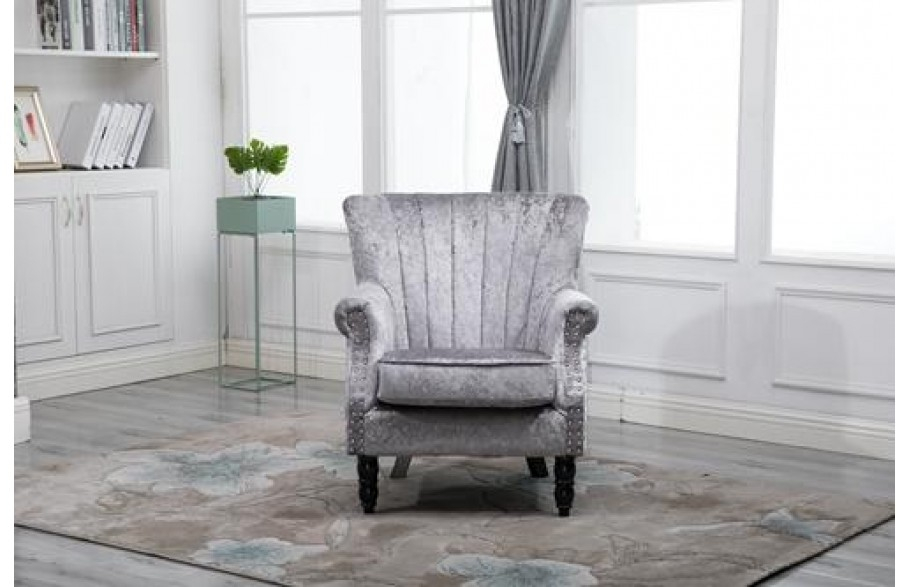 Vintage Crush Velvet Armchair Solid Oak Legs and Frame Grey | H4Home  Furnitures